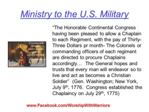Gen. George Washington and his request for Christian Chaplains